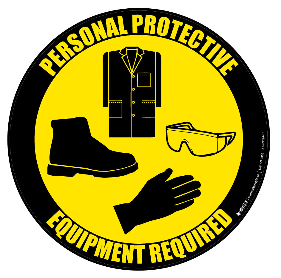ppe lab coat goggles gloves and shoes floor sign floor