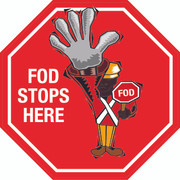 FOD Stops Here Stop Sign Floor Sign