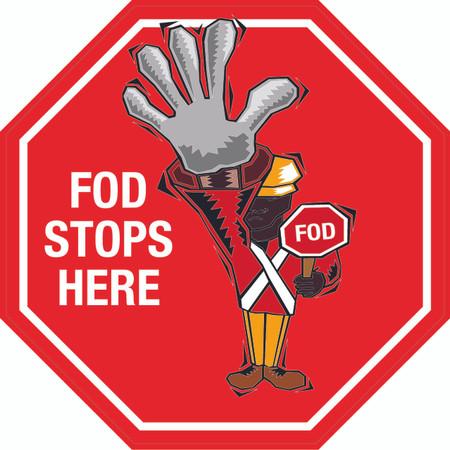 FOD Stops Here Stop Sign Floor Sign