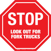 Stop Look Out For Fork Trucks Floor Sign