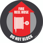 Fire Reel Hose Do Not Block Floor Sign