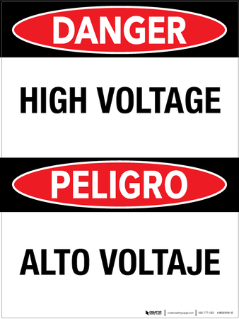 Danger: High Voltage - Bilingual Wall Sign