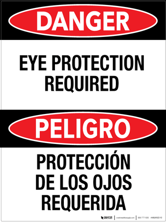 Danger: Eye Protection Required - Bilingual Wall Sign