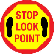 Stop Look Point Floor Sign