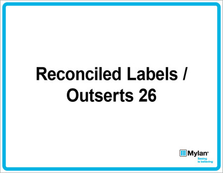 "Wall Sign: (Mylan Logo) Reconciled Labels / Outsert 26 11""x14"" (Mounted on 3mm PVC)"