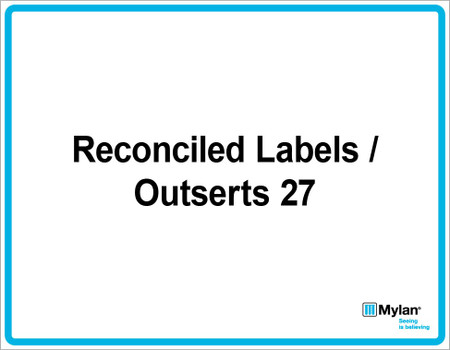 "Wall Sign: (Mylan Logo) Reconciled Labels / Outsert 27 11""x14"" (Mounted on 3mm PVC)"