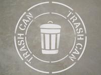 """Trash Can - 24"""" x 24"""" stencil"""