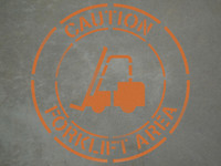 "Caution: Forklift Area - 24"" x 24"" stencil"