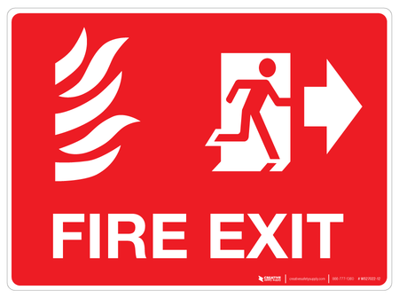 Fire Exit with pictograms - Wall Sign