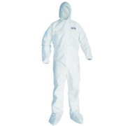 Kleenguard A30 - Coverall with hood, boots, elastic cuffs and stretch panels.