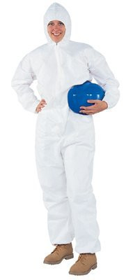 Kleenguard A40 coverall with zipper front elastic wrists and ankles and attached hood
