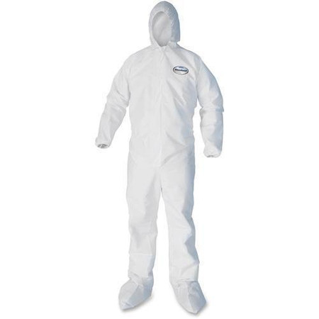 Kleenguard A40 coverall with zipper front elastic wrists and ankles, attached hood and boots