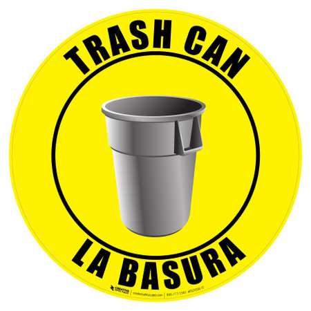 Bilingual Trash Can Sign