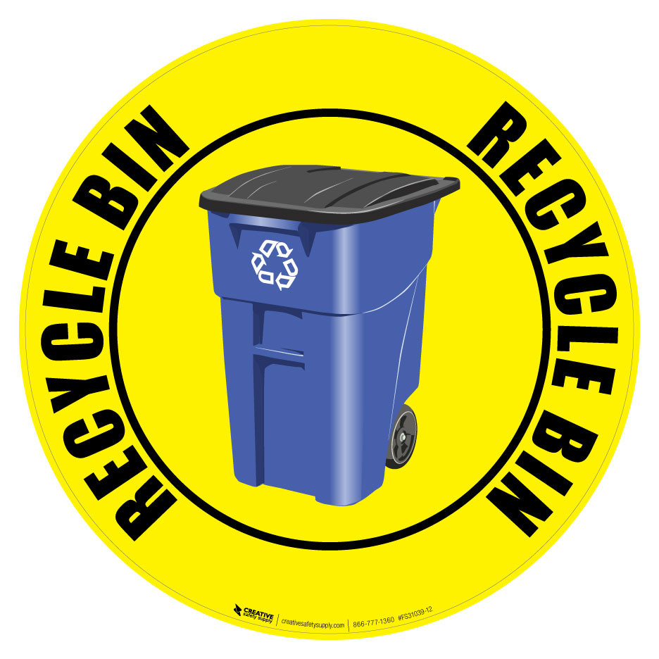 Recycle bin floor sign creative safety supply for Floor banner