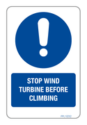 Stop Wind Turbine Before Climbing Label PPL 10252