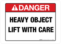 Danger Heavy Object Wall Sign