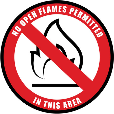 No Open Flames Floor Sign