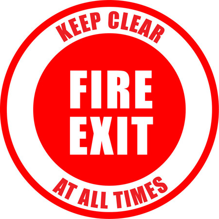 Fire Exit - Keep Clear At All Times Floor Sign
