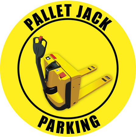 Pallet Jack Parking Sign - Yellow Industrial-Grade Vinyl floor sign