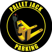 Pallet Jack Parking industrial floor sign - Black / yellow