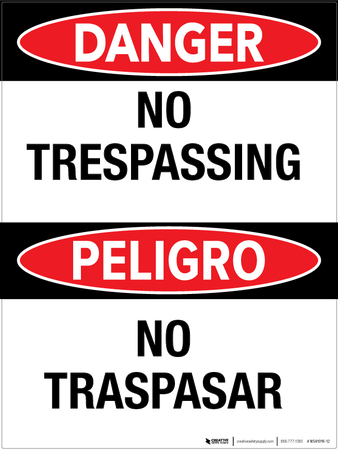 No Trespassing/ No Traspasar - Wall Sign