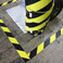 black and yellow hazard floor tape