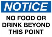 Notice: No Food or Drink Wall Signs