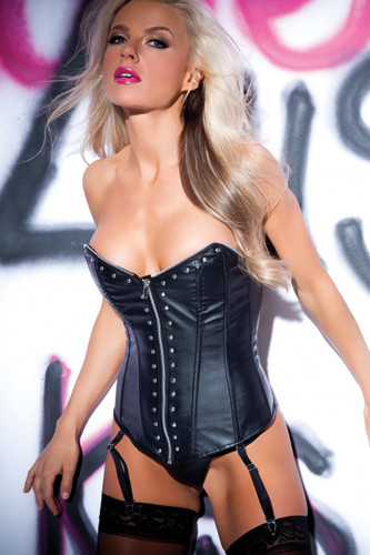 Allure Lingerie Faux Leather Metal Fetish Corset