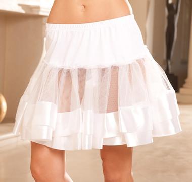 Elegant Moments Satin Trim Petticoat  - White
