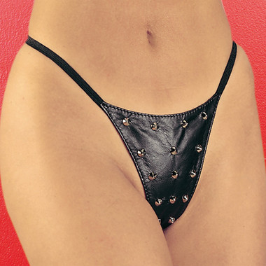 Allure Lingerie Leather Studded G-String