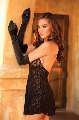 Elegant Moments Opera Length Satin Gloves - Black