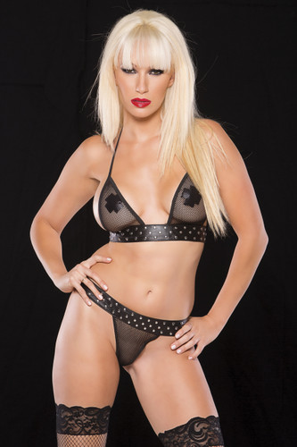 Allure Lingerie Leather and Fishnet Two Piece Set