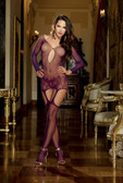 Dreamgirl Garter Dress with Lace Hem and Attached Thigh Highs - Raspberry
