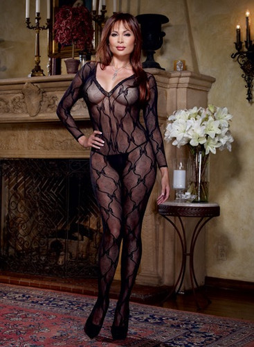 Dreamgirl Queen Long Sleeve Bow Design Open Crotch Bodystocking