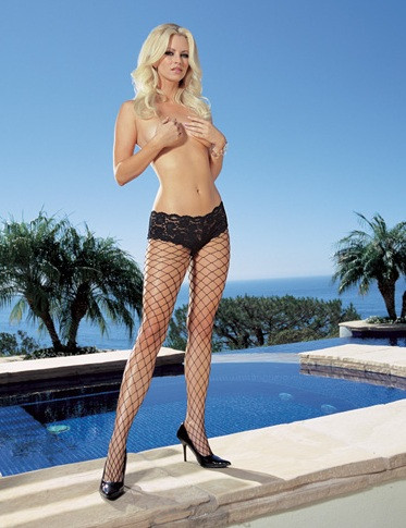 Dreamgirl Net Pantyhose with Cheeky Boy Shorts Lace Top -Black