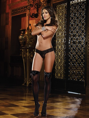 Dreamgirl Opaque Thigh Highs with Satin