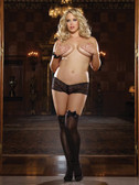 Dreamgirl Queen Size Opaque Thigh Highs with Satin Bow