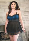 Coquette Plus Size Lycra/Mesh Babydoll with Padded Cups and G-String - Black/Blue