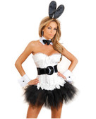 Daisy Corset 7 Pc Sexy Bunny Corset, Pettiskirt, Thong, Removable Belt, Ears, Choker And  Cuffs - White