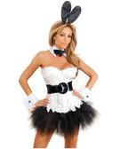 Daisy Corset 7 Pc Sexy Bunny Corset, Pettiskirt, Thong, Removable Belt, Ears, Choker And  Cuffs - White