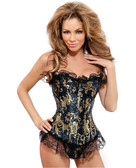 Daisy Corset Strapless Ruffled Brocade Corset and G-String Panty