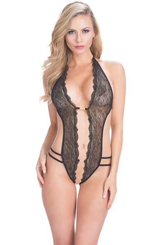 Oh La La Cheri Crotchless Lace Teddy With Crystal Embellishment - Black