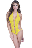 Oh La La Cheri Crotchless Lace Teddy With Crystal Embellishment - Yellow