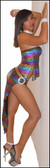 Blue Orchid Exoticwear Mambo Salsa Skirt Set with Thong