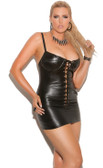 Elegant Moments Lace Up Leather Mini Dress Queen Size