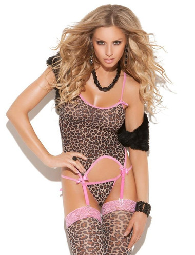Elegant Moments Leopard Camisette with Matching G-String and Stocking