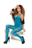 Elegant Moments Zebra Print Bodystocking with Satin Bows