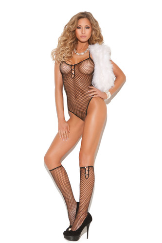 Elegant Moments Diamond Net Teddy with Pearl Accents and Knee Hi's