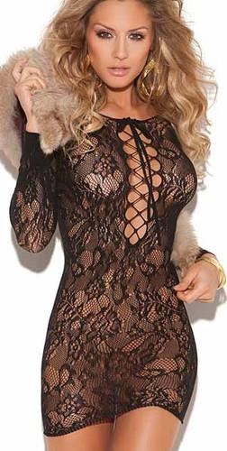 Elegant Moments Long Sleeve Lace Up Front Lace MIni Dress - Black