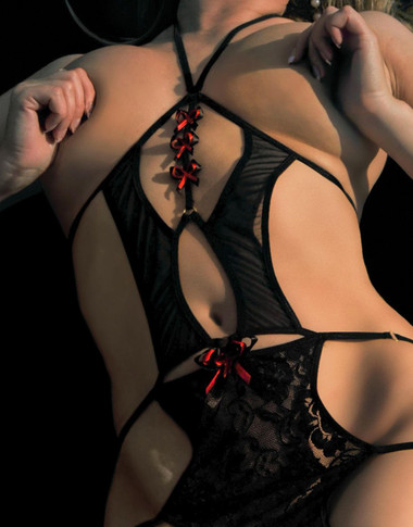Fearless And Fun Lingerie Open Bust Mini Dress - Black